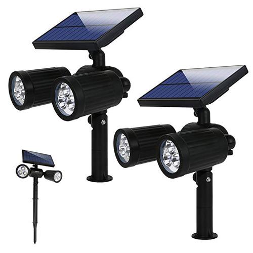 Foco o lámpara led de exterior para caminos que incluye un panel solar